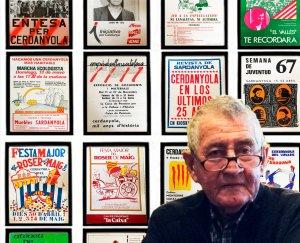 El cronista Albert Lázaro, amb els pòsters