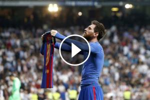 Messi celebrant el 2-3 al Bernabéu