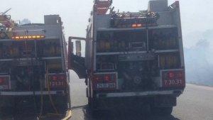 Dos camions de Bombers al lloc dels fets.