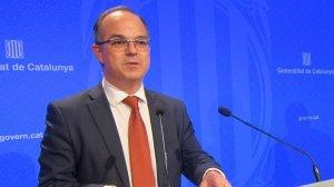 El vicepresident Junqueras i el conseller Turull en la roda de premsa d'aquest dimarts, 19 de setembre.