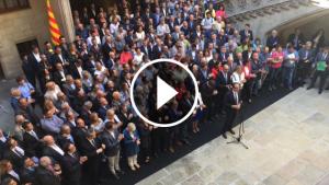 Els alcaldes pro referèndum al Palau de la Generalitat
