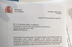 La carta que Zoido ha enviat a Forn