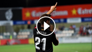 Máyor celebra el gol anotat en la primera meitat
