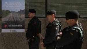 Agents de la Guàrdia Civil a Terrassa el 19 de setembre.
