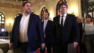 El president de la Generalitat, Carles Puigdemont, i el vicepresident del Govern, Oriol Junqueras.