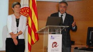 Els investigadors de la UPC Josep Amat i Alícia Casal durant la inauguració del curs acadèmic a l'ETSE