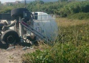 Estat del camió després de l'accident.
