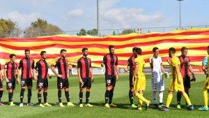 La senyera mostrada durant la prèvia del CF Reus-Osasuna
