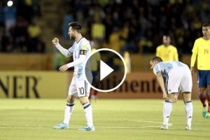 Lionel Messi celebra el primer gol davant l'Equador.