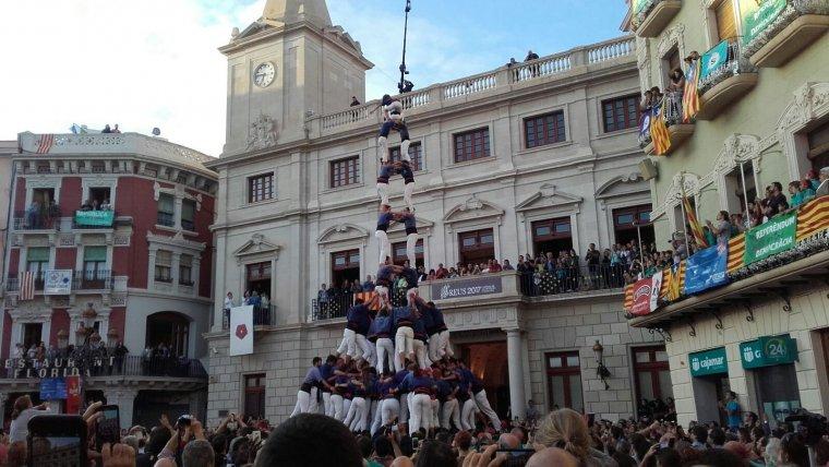 El 2 de 9 amb folre i manilles d'avui ha estat el primer que els Capgrossos de Mataró portaven a Reus.