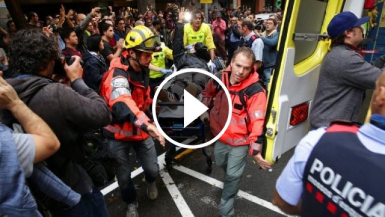 El Sistema d'Emergències Mèdiques evacuant el ferit a l'ull
