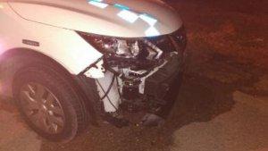 Així va quedar el vehicle de la Policia Local de Torredembarra després del xoc amb el quad.