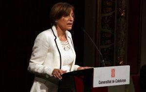 Carme Forcadell, presidenta del Parlament, al Teatre Bartrina de Reus.
