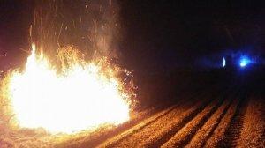 Imatge del foc que s'ha generat a la vegetació d'un terreny situat al camí de l'Albi