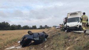 Lugar del accidente, cerca de Novelda, en Badajoz