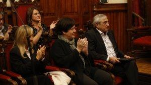Maruja Rambla, Rosa Maria Ribera i al darrere, Lluïsa Melgares, regidores que pleguen