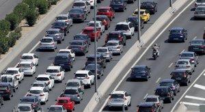 Vista del tráfico en la M30 madrileña, a primeras horas de la tarde.