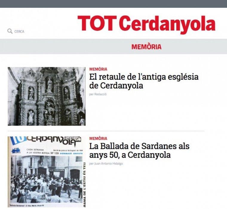 Secció de Memòria al web del TOT Cerdanyola