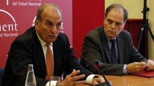 El president de Foment del Treball, Joaquim Gay Montellà, i el secretari general de la patronal, Joan Pujol