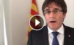 El president Puigdemont, durant el missatge.
