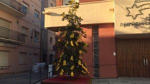 Els arbres de Nadal estan decorats amb diversos llaços grocs en record dels presos