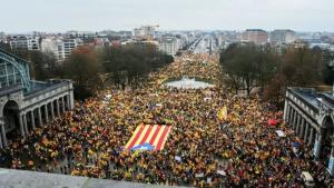 Imatge de la manifestació independentista a Brussel·les