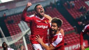 Xavi Molina celebra amb ràbia el 2 a 0 marcat en el minut 36