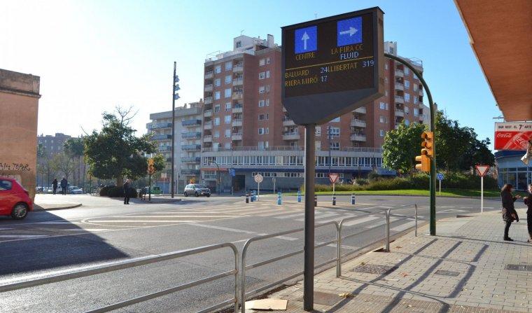 El nou panell de trànsit de la plaça de Pompeu Fabra.
