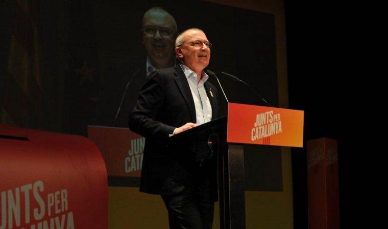 Imatge de l'alcalde de Reus, Carles Pellicer, durant la presentació de campanya de Junts per Catalunya.