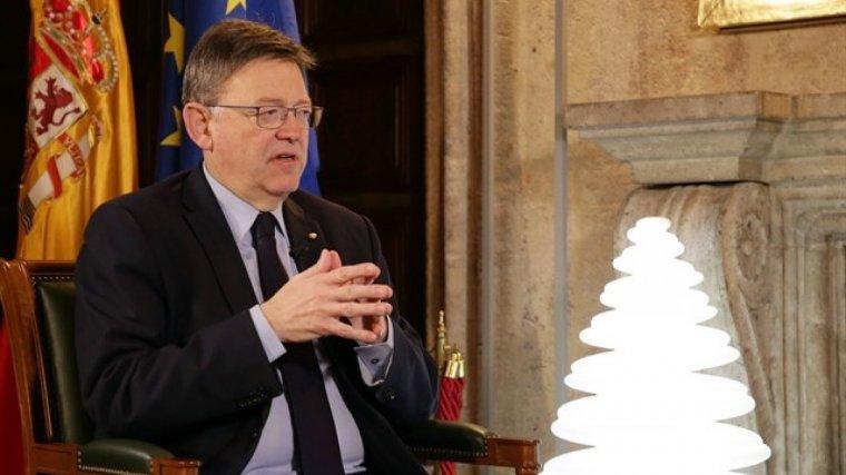 Ximo Puig en el discurs al Palau de la Generalitat durant l'entrevista
