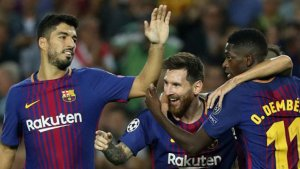 Dembélé, celebrant un gol amb el Barça