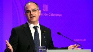 El conseller de la Presidència i portaveu del Govern, Jordi Turull, en la roda de premsa posterior al Consell Executiu del 10 d'octubre.