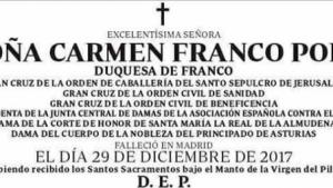 La esquela de Carmen Franco Polo