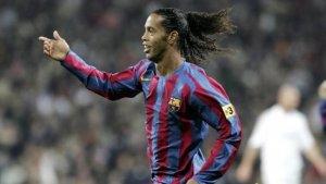 Ronaldinho, celebrant un gol al Santiago Bernabéu