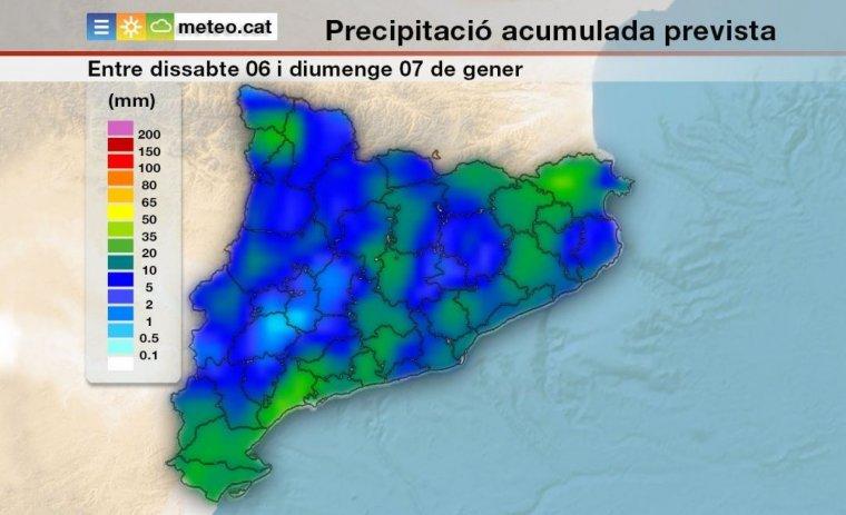 Previsió de les precipitacions que es podrien acumular aquests pròxims dies