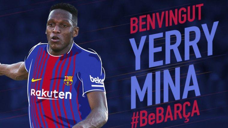 Yerry Mina a la seva presentació com a jugador del Barça