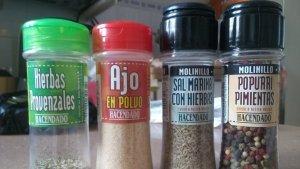 Algunas de las especias y condimentos de Hacendado
