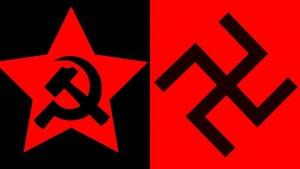 El martillo y la hoz y la esvástica, símbolos del comunismo y el nazismo.