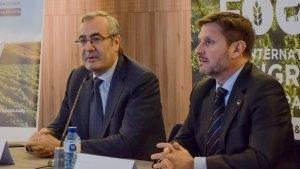 El president del Port de Tarragona, Josep Andreu, i el president de Puertos del Estado, José Llorca a la presentació del Congres