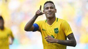 Imagen de Neymar celebrando un gol con la camiseta de la selección brasileña.