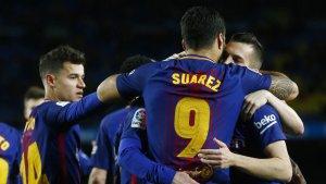 Imagen del Barça celebrando el gol.