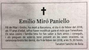 Imatge de l'esquela en català d'Emilio Miró Paniello publicada a 'La Vanguardia'