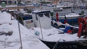 La nevada de 2001 al port pesquer de Cambrils.