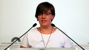Mireia Boya, en roda de premsa al Parlament de Catalunya