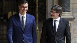 Pedro Sánchez i Carles Puigdemont, al Palau de la Generalitat