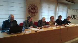 Representants de les diverses Cambres de la demarcació durant la presentació de l'Informe de Cojuntura Econòmica de 2017.