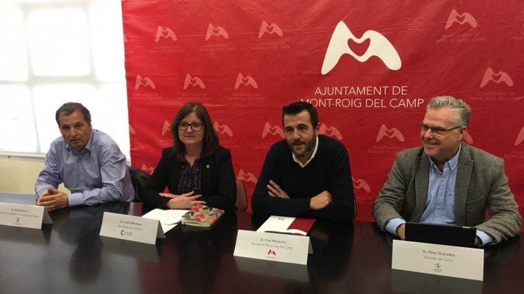 Els alcaldes de Vandellòs, Cambrils, Mont-roig i Salou, a la trobada d'aquest dijous.