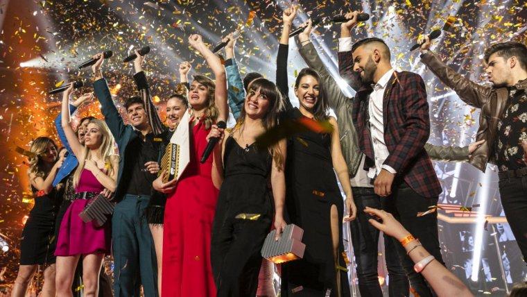 Los concursantes de 'OT 2017' durante la final del programa