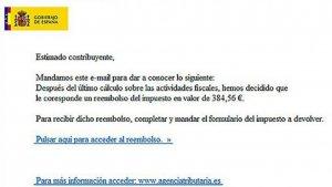 Captura del correo electrónico que envían los estafadores