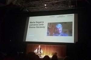 Donna Haraway conversant per videoconferència